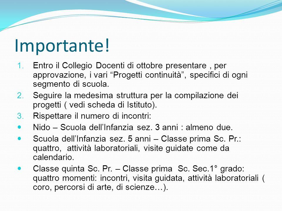 Importante! Entro il Collegio Docenti di ottobre presentare , per approvazione, i vari Progetti continuità , specifici di ogni segmento di scuola.