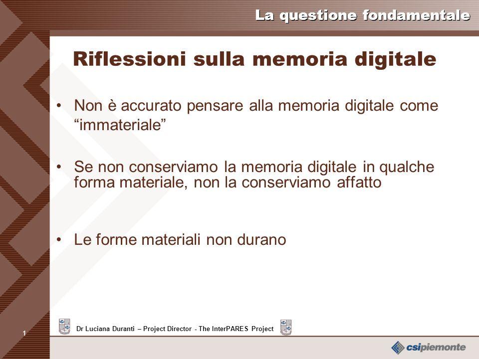 Riflessioni sulla memoria digitale