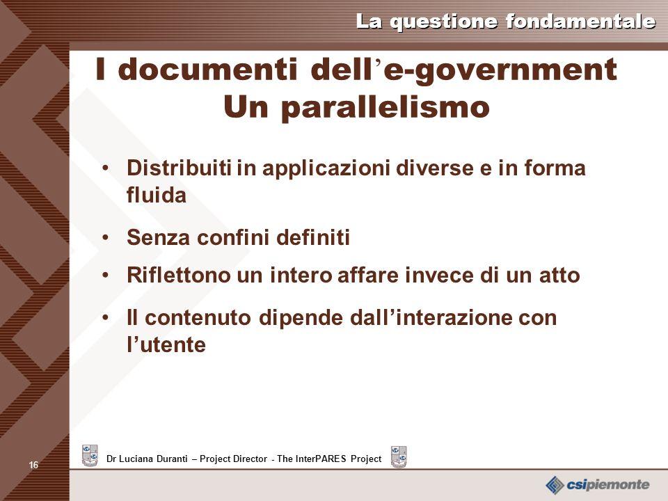 I documenti dell'e-government Un parallelismo
