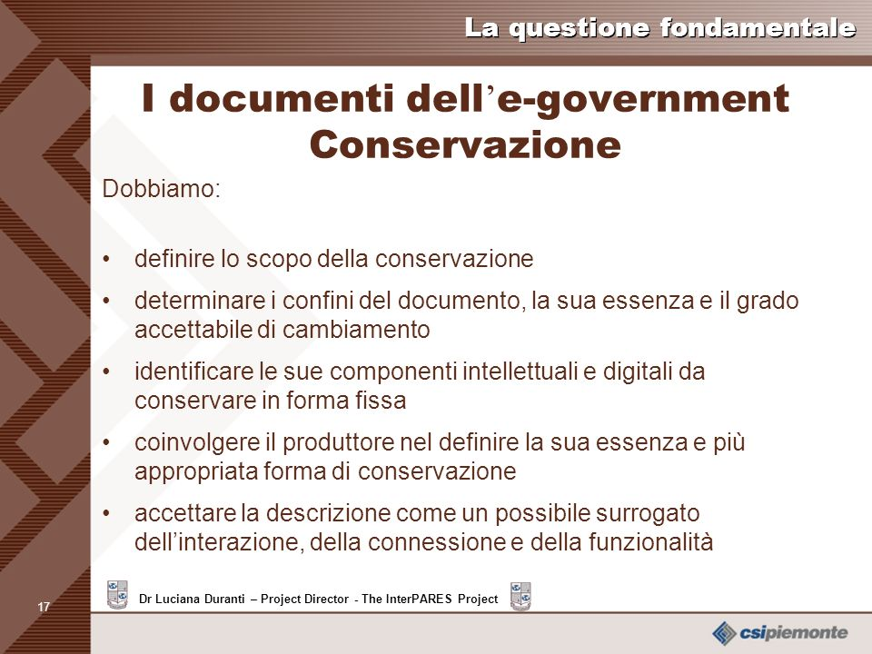 I documenti dell'e-government Conservazione