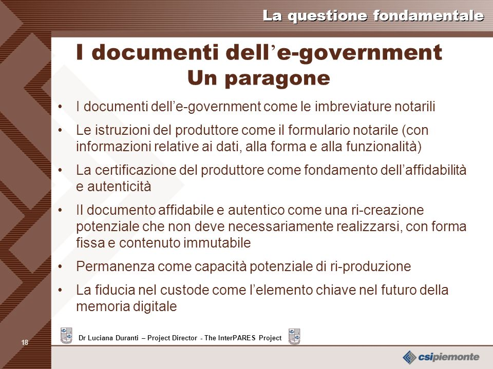 I documenti dell'e-government Un paragone