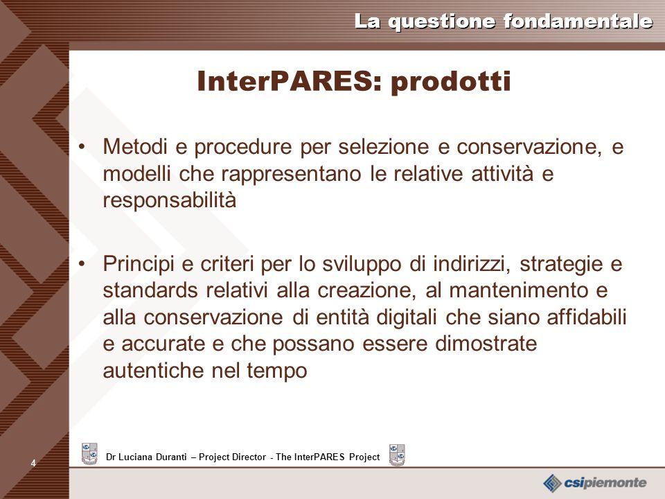 InterPARES: prodotti Metodi e procedure per selezione e conservazione, e modelli che rappresentano le relative attività e responsabilità.