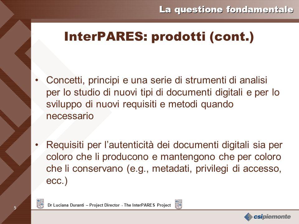 InterPARES: prodotti (cont.)