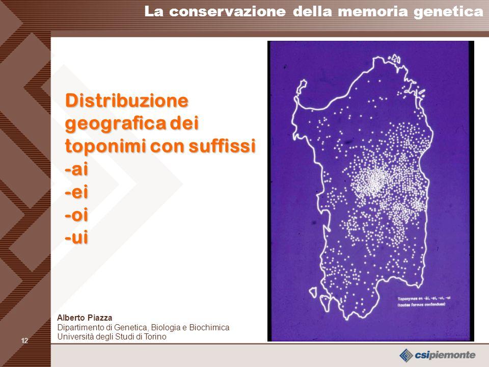 Distribuzione geografica dei toponimi con suffissi -ai -ei -oi -ui