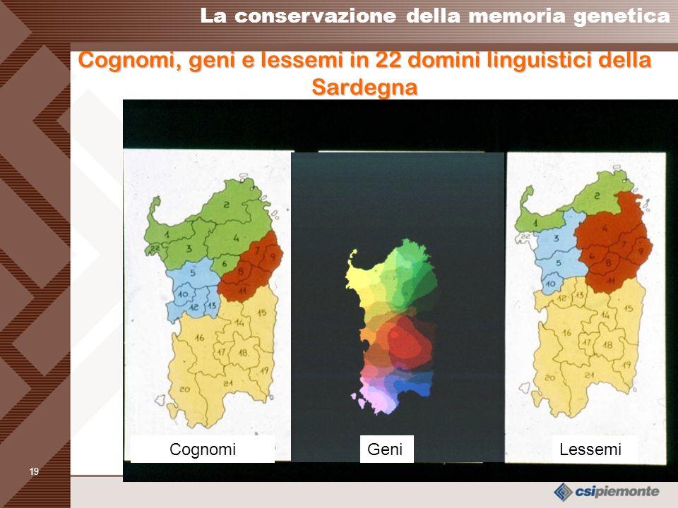 Cognomi, geni e lessemi in 22 domini linguistici della Sardegna