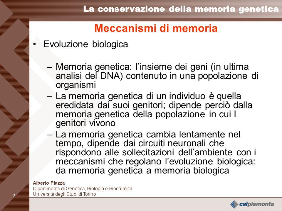 Meccanismi di memoria Evoluzione biologica
