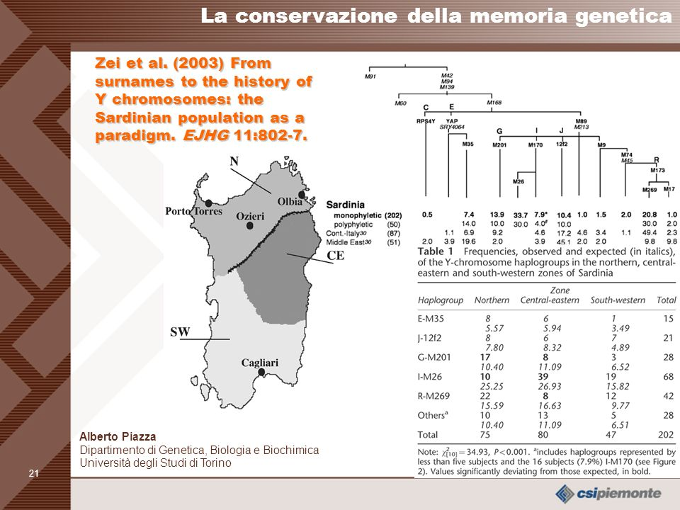 La conservazione della memoria genetica