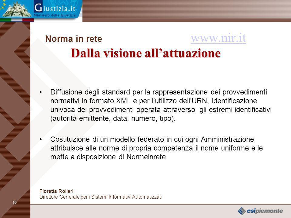 Norma in rete www.nir.it Dalla visione all'attuazione