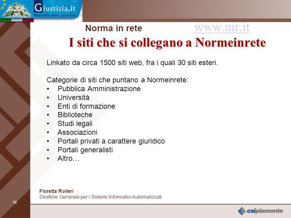 Norma in rete www.nir.it I siti che si collegano a Normeinrete
