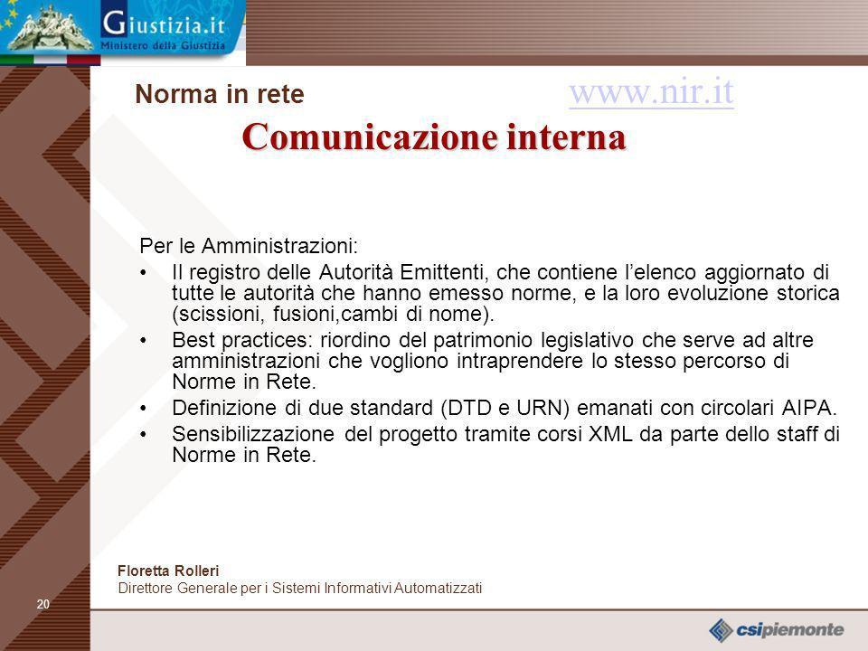 Norma in rete www.nir.it Comunicazione interna