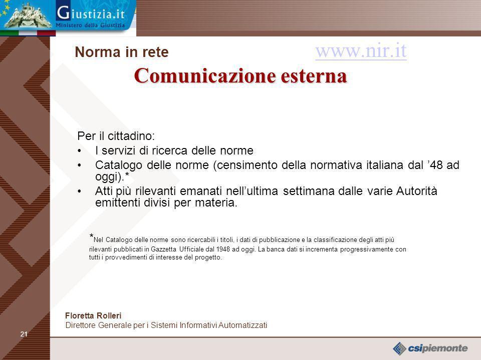 Norma in rete www.nir.it Comunicazione esterna