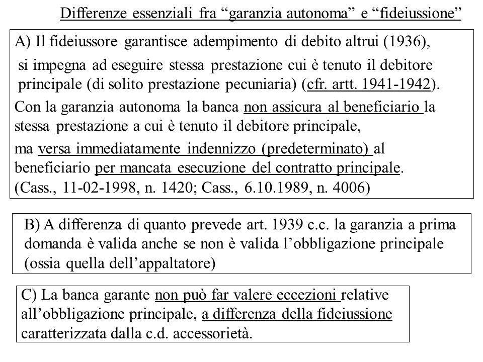 Differenze essenziali fra garanzia autonoma e fideiussione