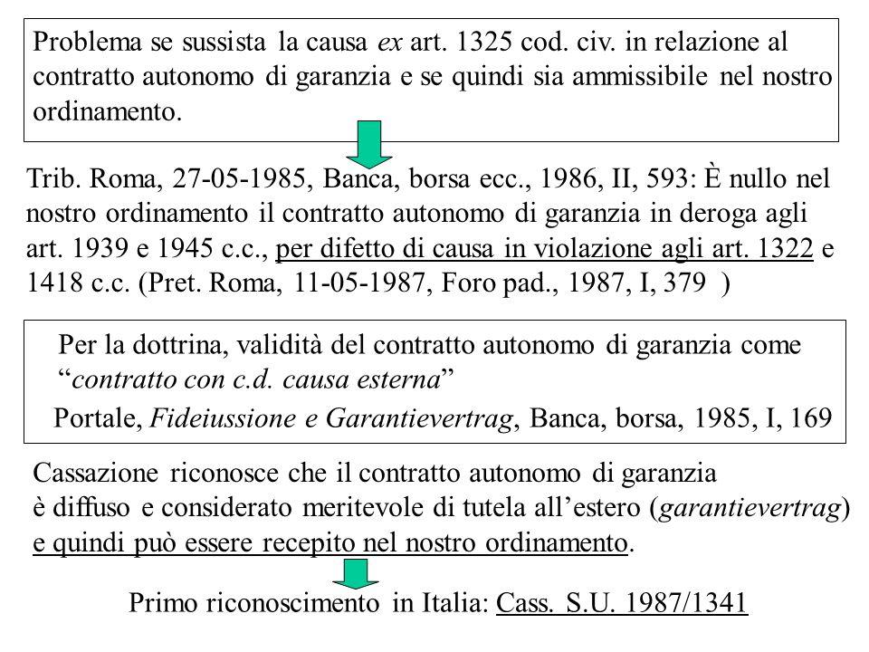 Problema se sussista la causa ex art. 1325 cod. civ. in relazione al
