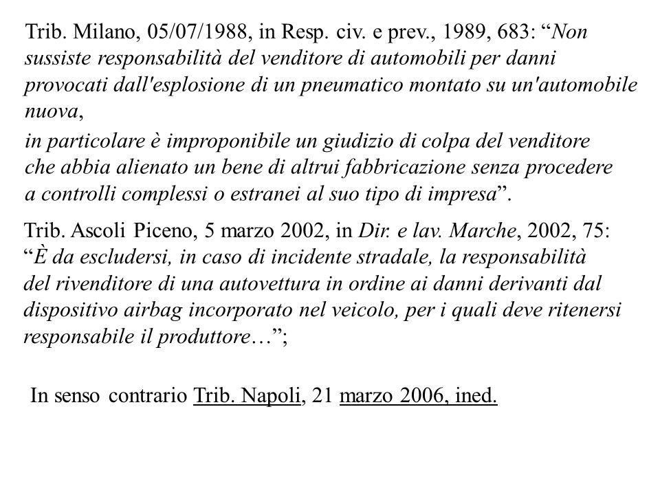 Trib. Milano, 05/07/1988, in Resp. civ. e prev., 1989, 683: Non