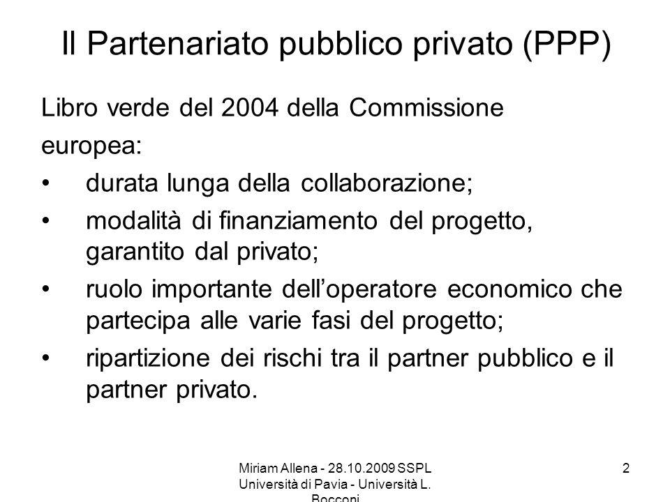 Il Partenariato pubblico privato (PPP)