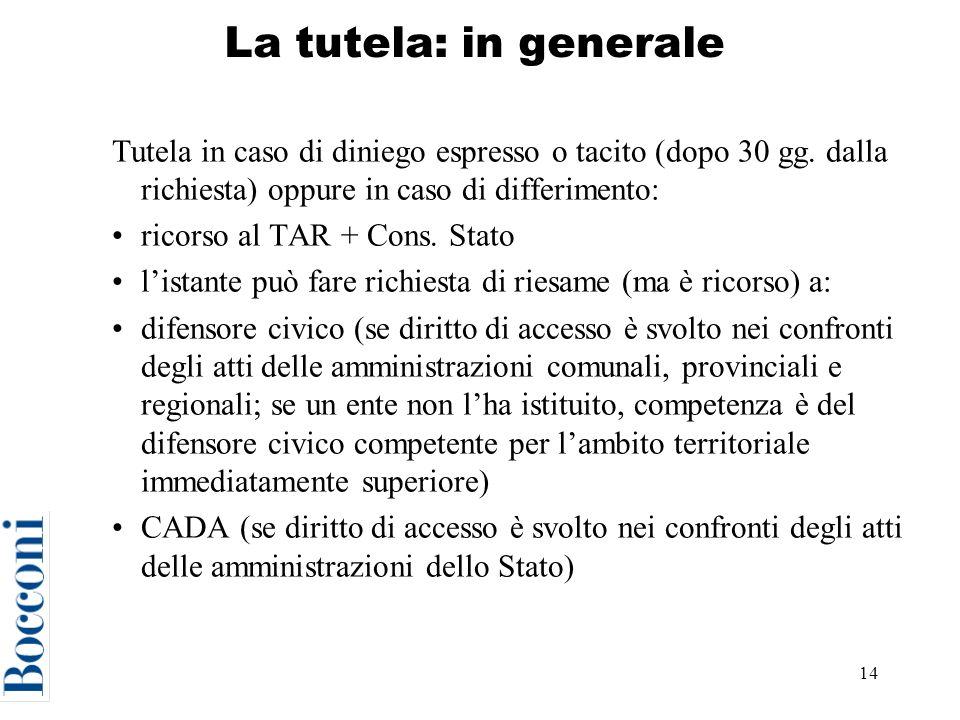 La tutela: in generale Tutela in caso di diniego espresso o tacito (dopo 30 gg. dalla richiesta) oppure in caso di differimento: