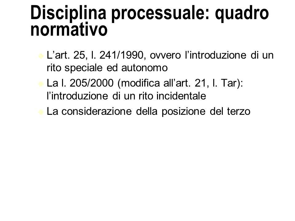 Disciplina processuale: quadro normativo