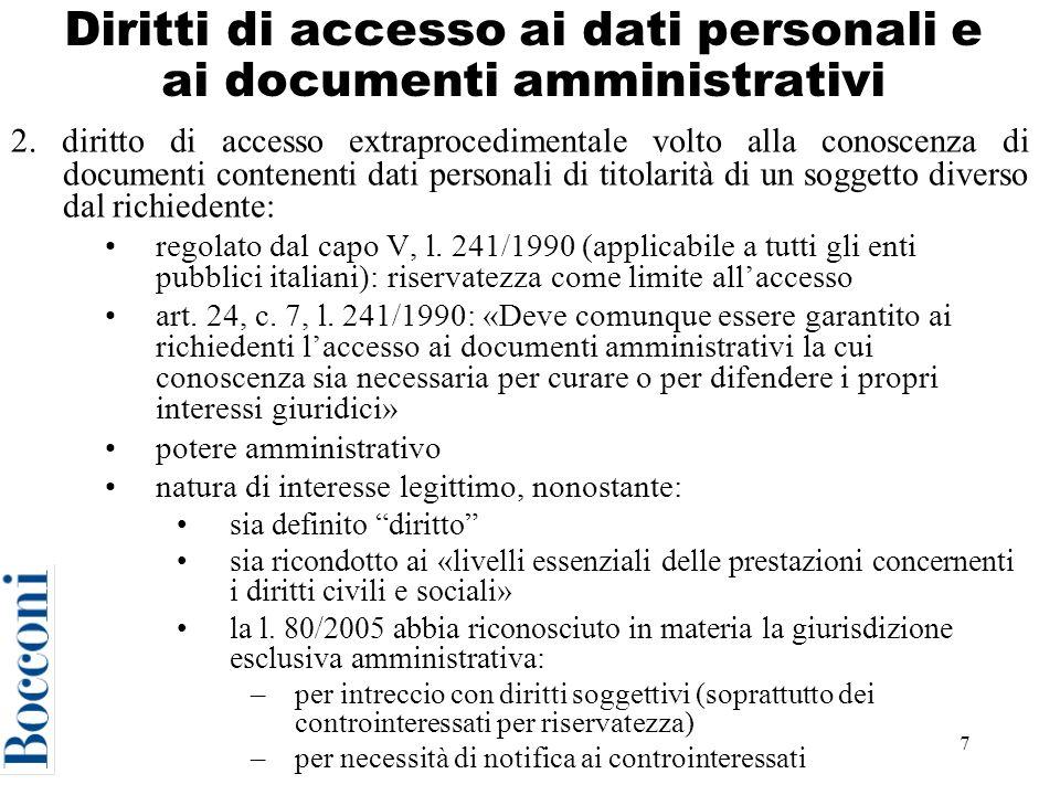 Diritti di accesso ai dati personali e ai documenti amministrativi