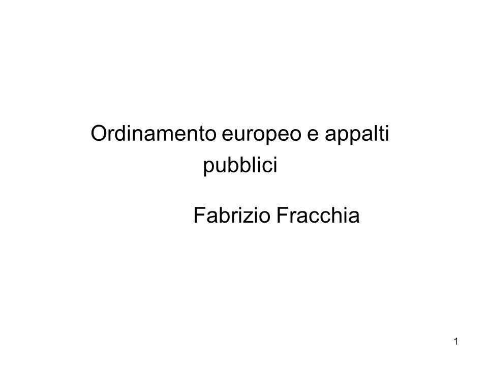 Ordinamento europeo e appalti pubblici