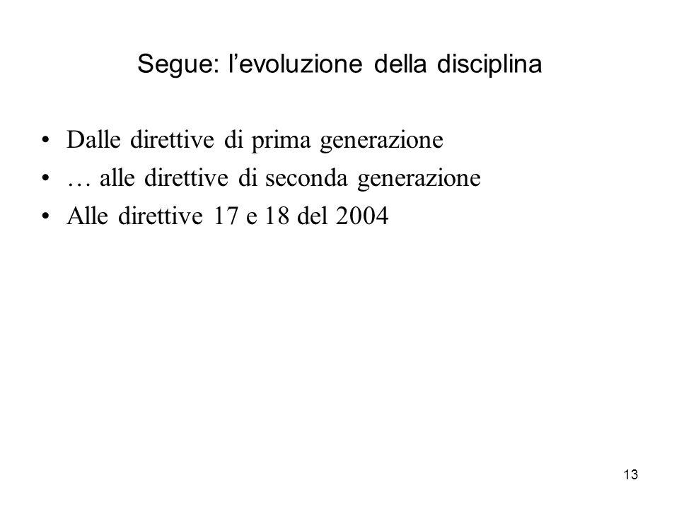Segue: l'evoluzione della disciplina