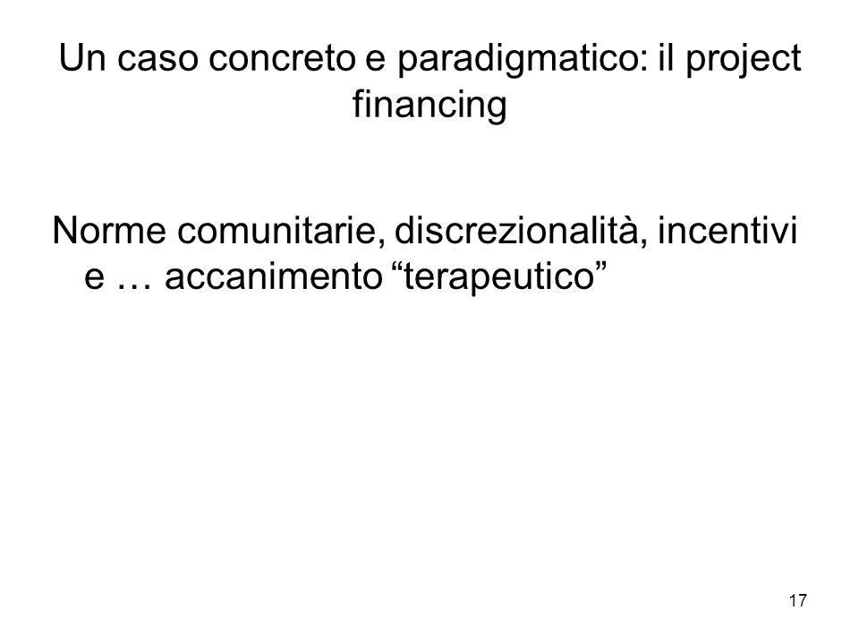 Un caso concreto e paradigmatico: il project financing