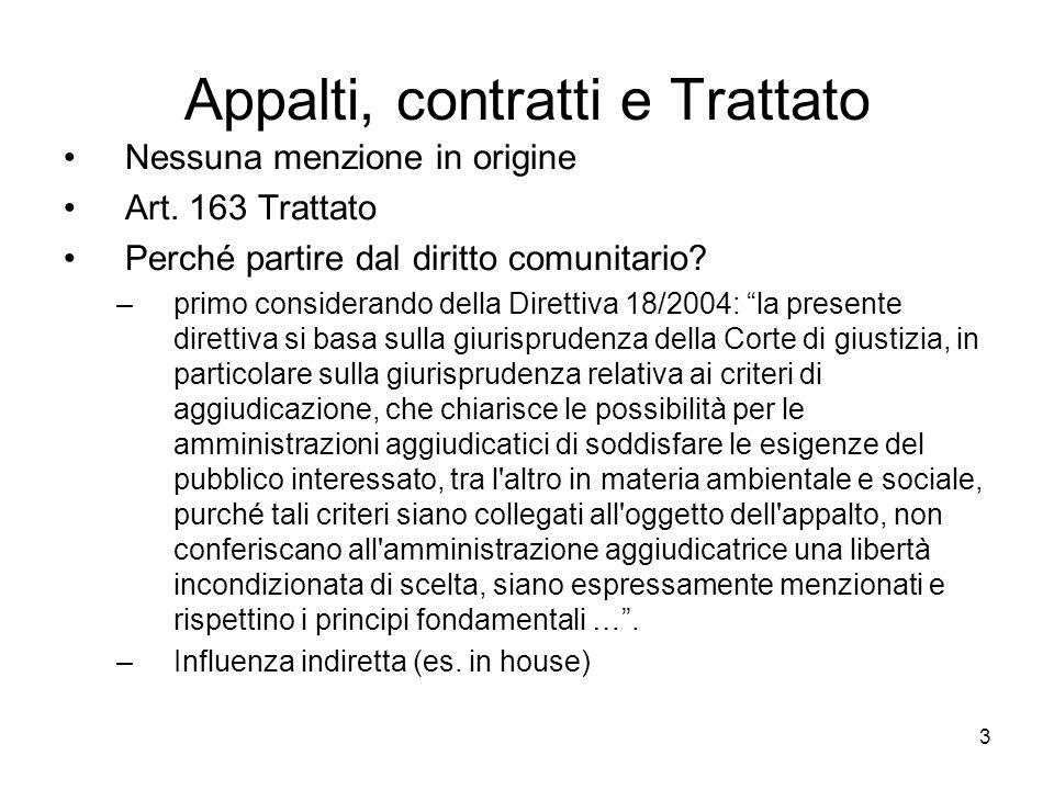 Appalti, contratti e Trattato