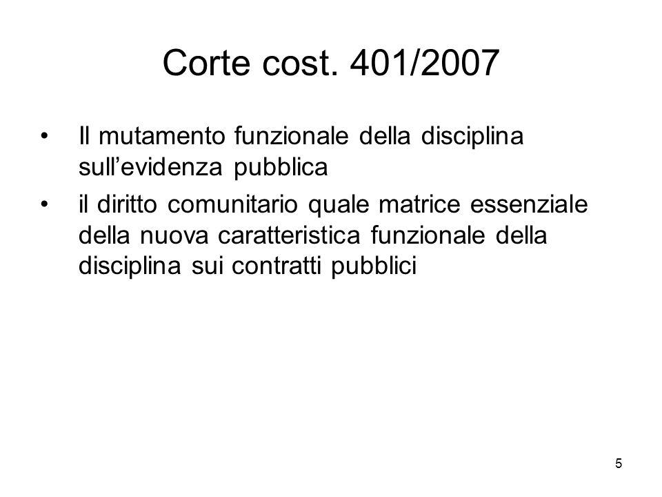 Corte cost. 401/2007 Il mutamento funzionale della disciplina sull'evidenza pubblica.
