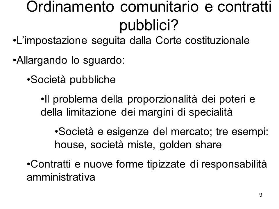 Ordinamento comunitario e contratti pubblici