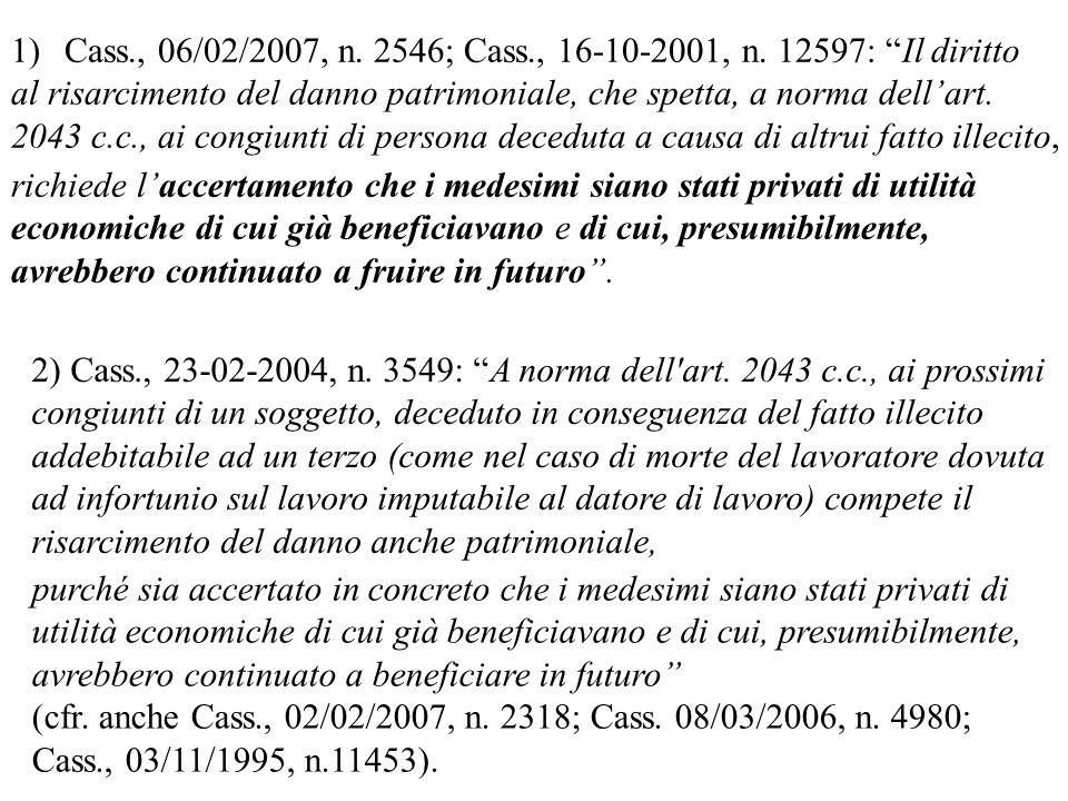 Cass., 06/02/2007, n. 2546; Cass., 16-10-2001, n. 12597: Il diritto