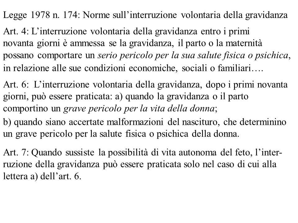 Legge 1978 n. 174: Norme sull'interruzione volontaria della gravidanza