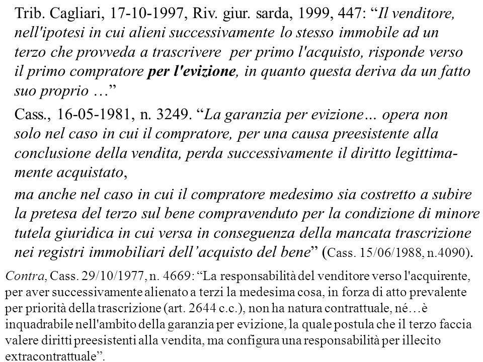 Cass., 16-05-1981, n. 3249. La garanzia per evizione… opera non