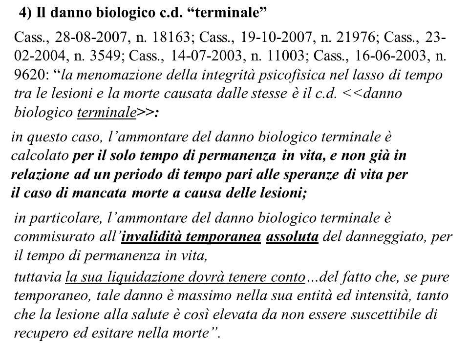 4) Il danno biologico c.d. terminale