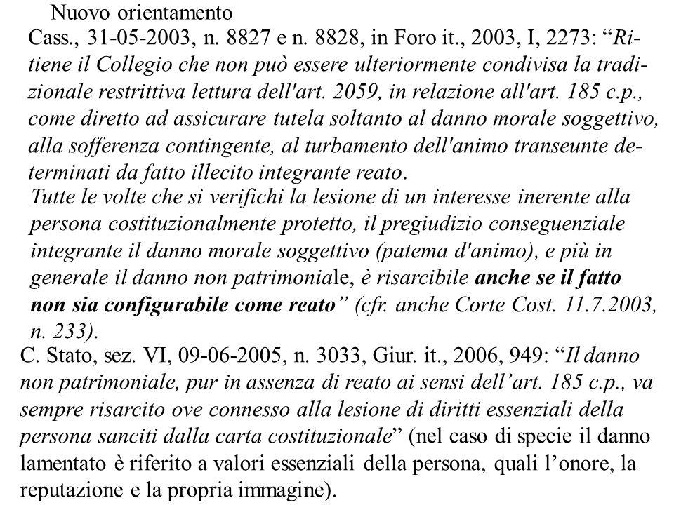 Nuovo orientamento Cass., 31-05-2003, n. 8827 e n. 8828, in Foro it., 2003, I, 2273: Ri-