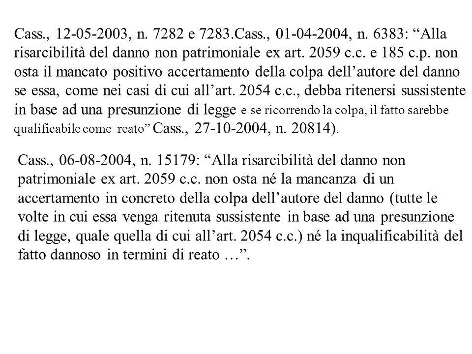 Cass., 12-05-2003, n. 7282 e 7283.Cass., 01-04-2004, n. 6383: Alla risarcibilità del danno non patrimoniale ex art. 2059 c.c. e 185 c.p. non