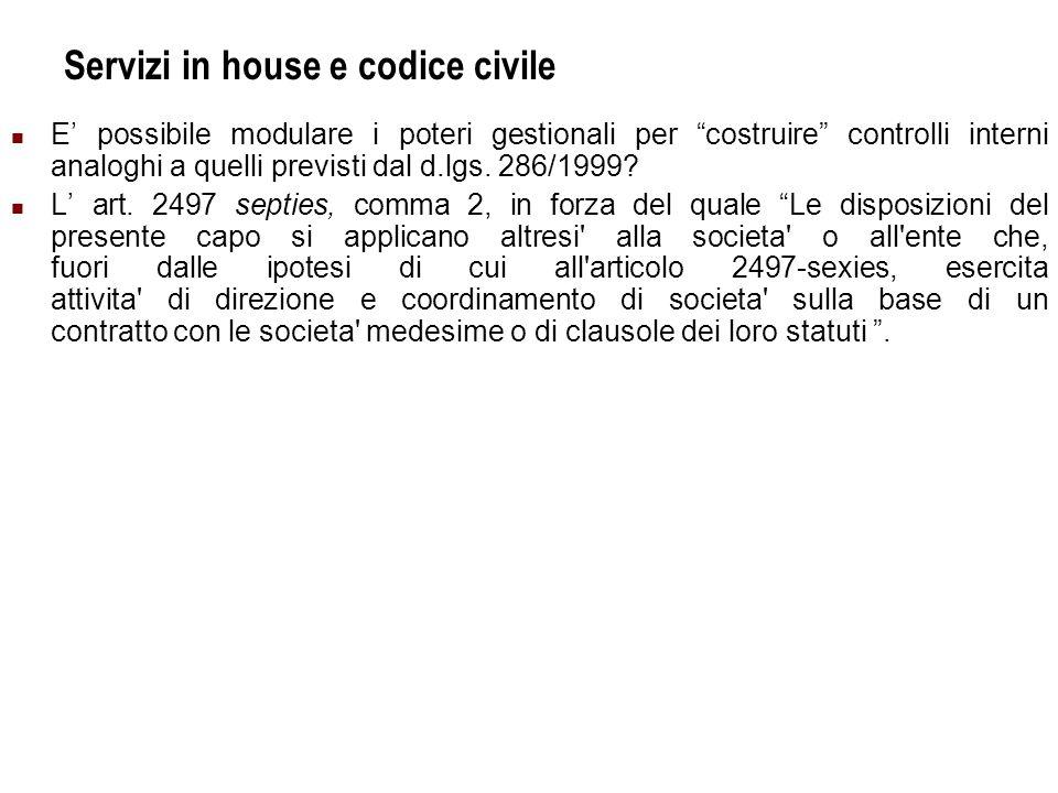 Servizi in house e codice civile