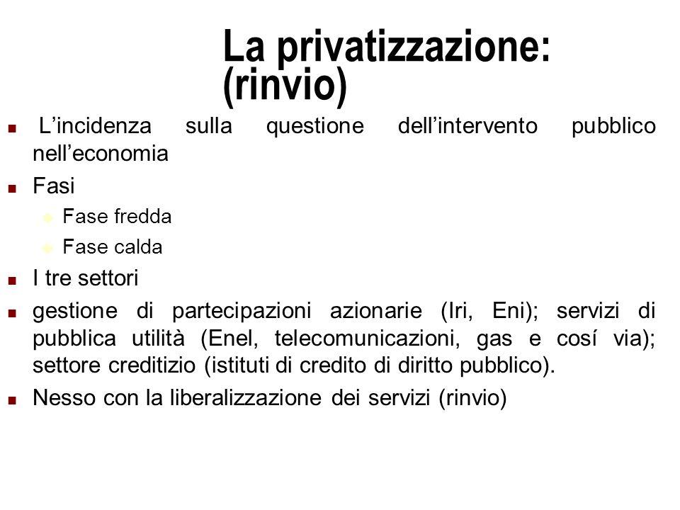 La privatizzazione: (rinvio)