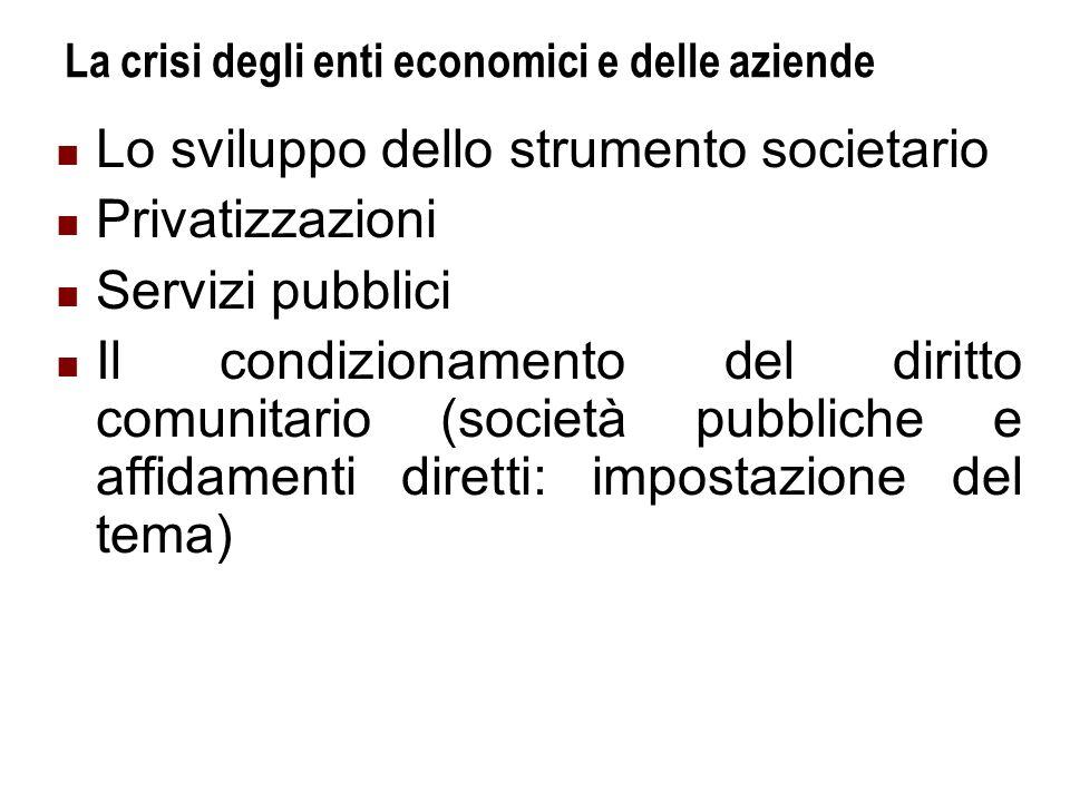 La crisi degli enti economici e delle aziende