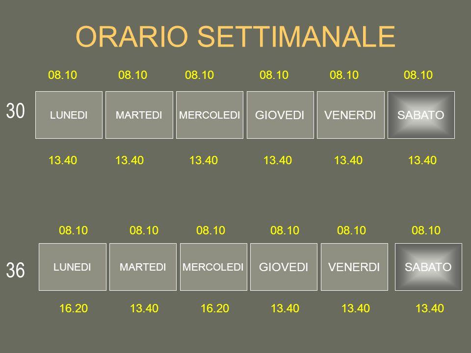 ORARIO SETTIMANALE 30 36 08.10 08.10 08.10 08.10 08.10 08.10 GIOVEDI