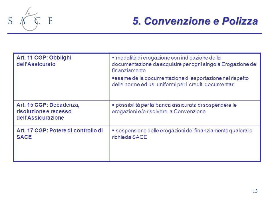 5. Convenzione e Polizza Art. 11 CGP: Obblighi dell'Assicurato