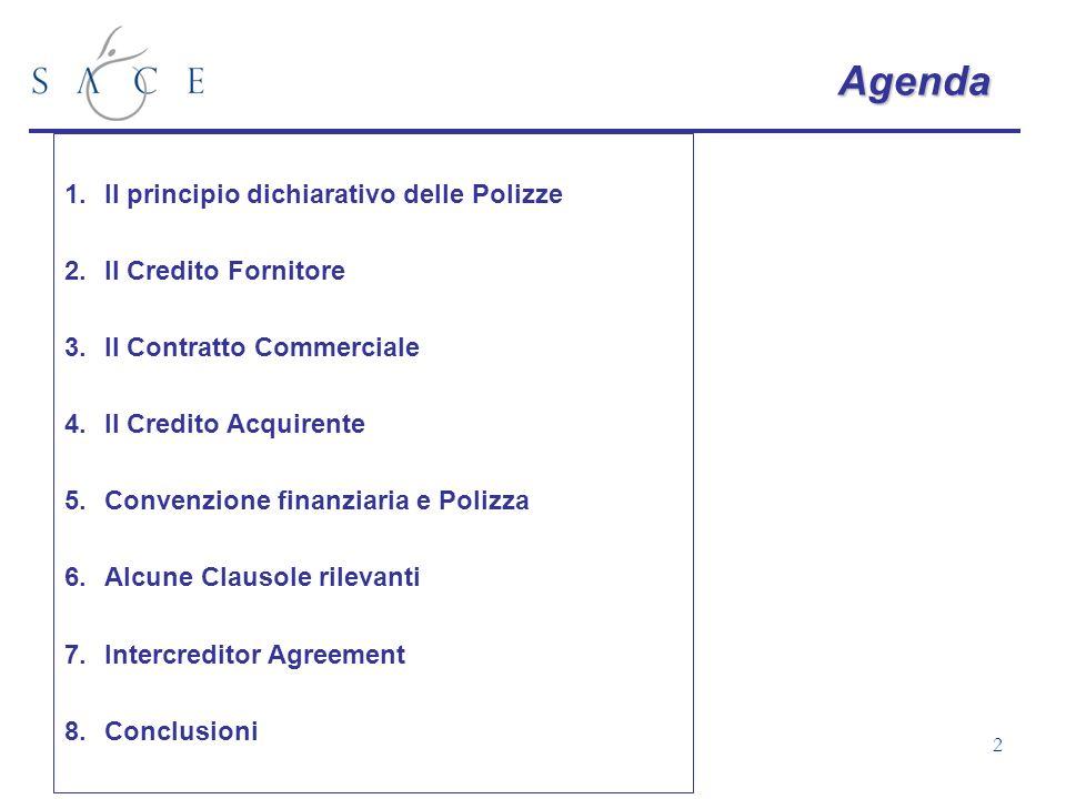 Agenda Il principio dichiarativo delle Polizze Il Credito Fornitore