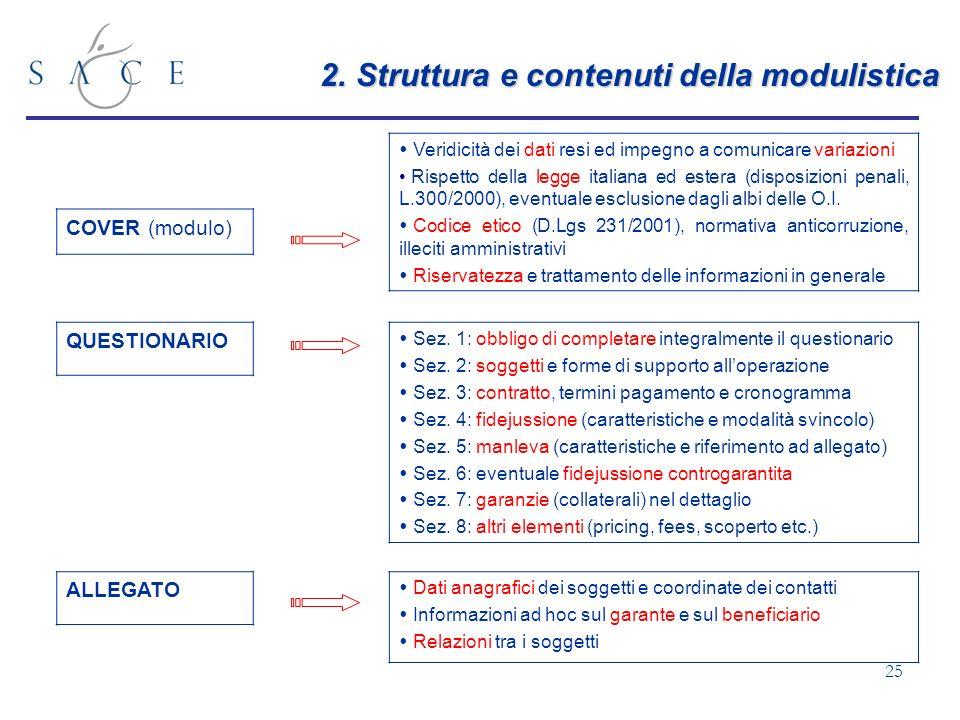 2. Struttura e contenuti della modulistica