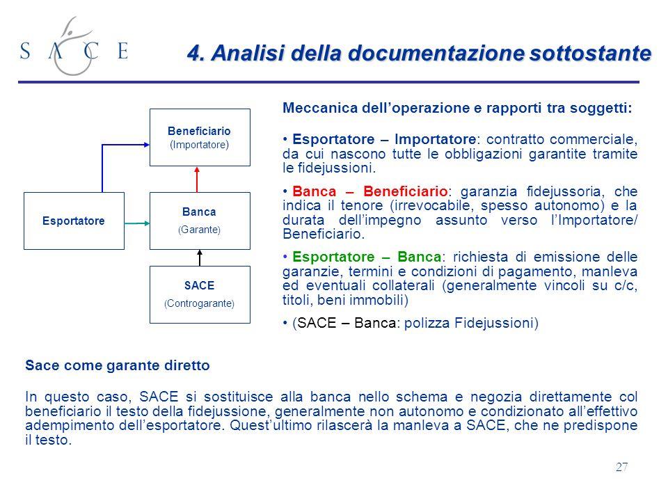 4. Analisi della documentazione sottostante