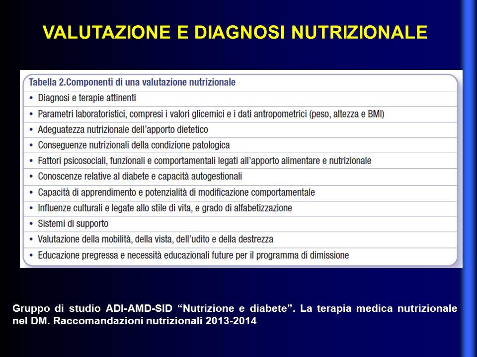 VALUTAZIONE E DIAGNOSI NUTRIZIONALE