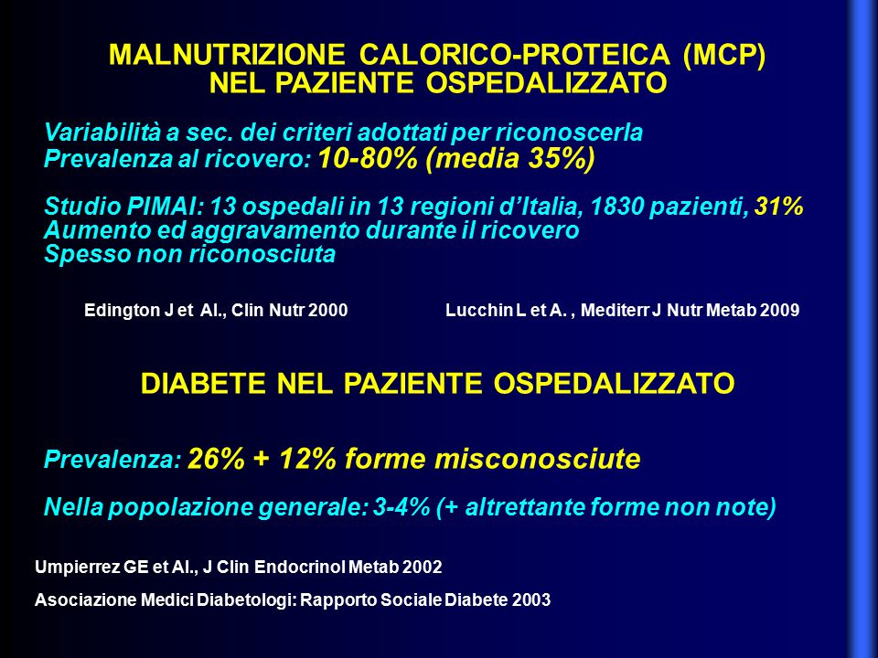 MALNUTRIZIONE CALORICO-PROTEICA (MCP) NEL PAZIENTE OSPEDALIZZATO