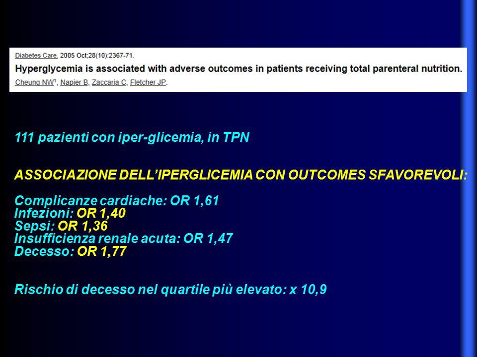111 pazienti con iper-glicemia, in TPN