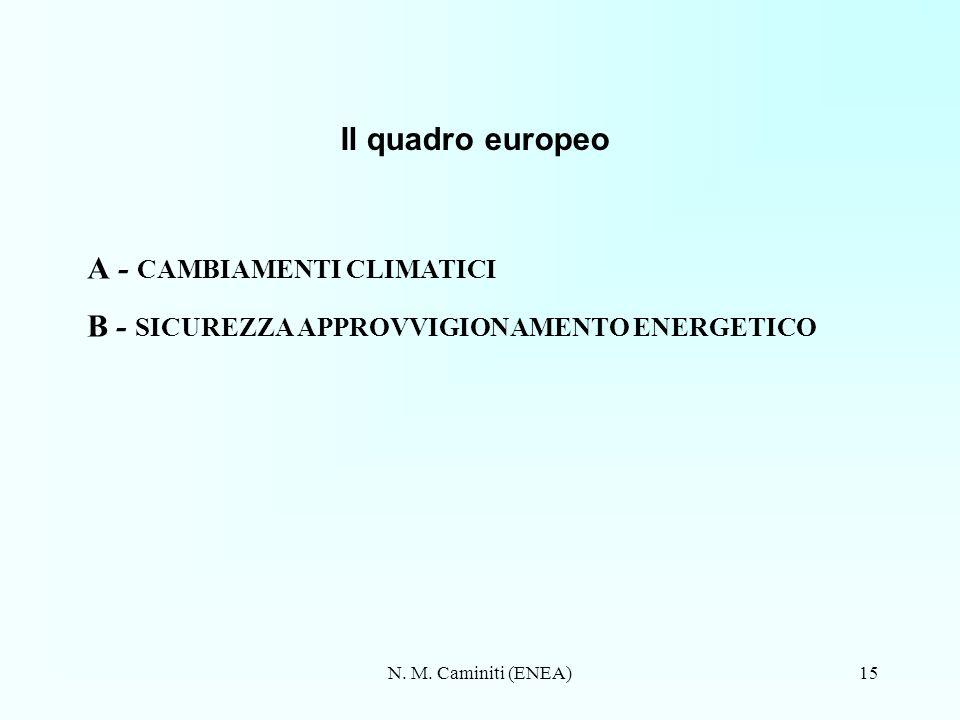 A - CAMBIAMENTI CLIMATICI B - SICUREZZA APPROVVIGIONAMENTO ENERGETICO