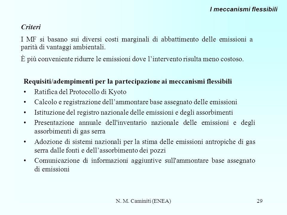 Requisiti/adempimenti per la partecipazione ai meccanismi flessibili