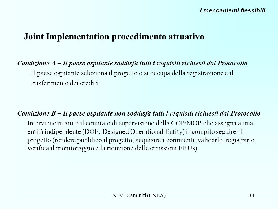 Joint Implementation procedimento attuativo