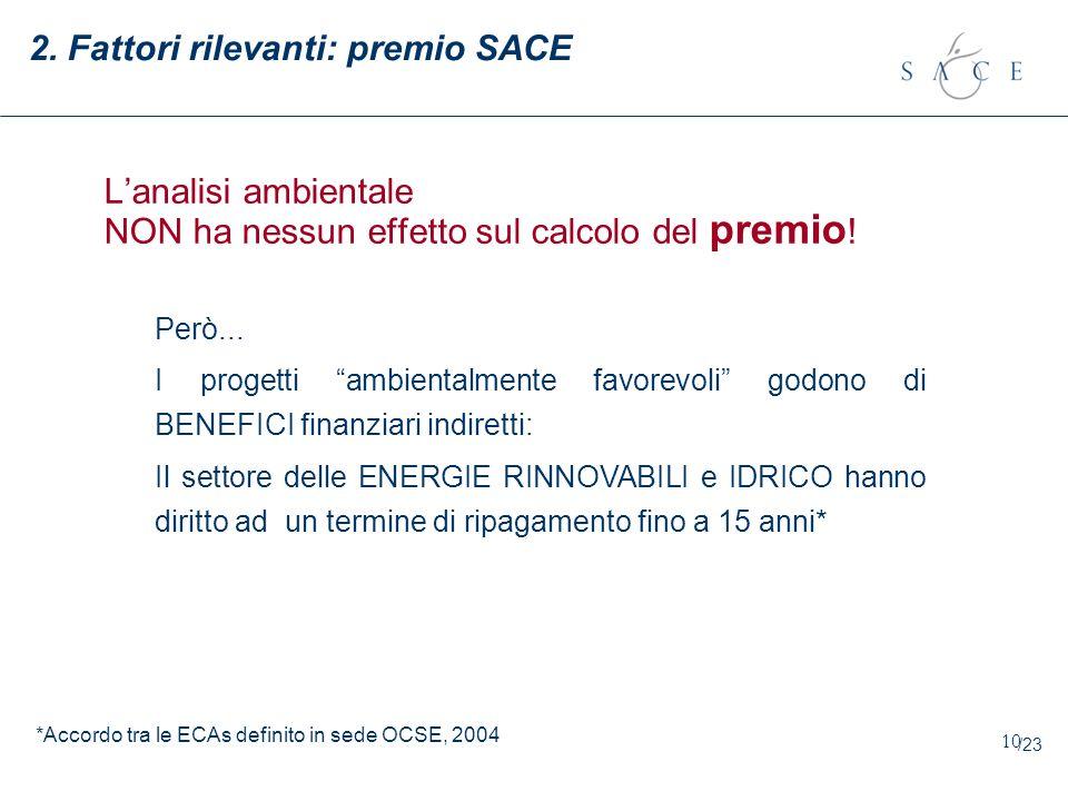 2. Fattori rilevanti: premio SACE