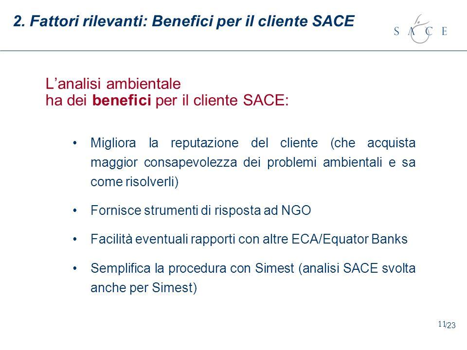 2. Fattori rilevanti: Benefici per il cliente SACE